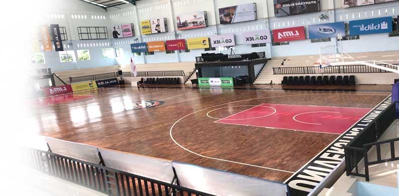 lantai kayu solid lapangan basket