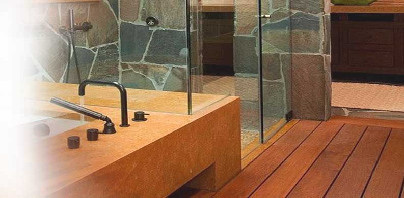 lantai kayu outdoor kamar mandi